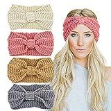 DRESHOW Bandeau Cheveux pour Femme Bandeaux Hiver Serre-Tête Tricoté Oreille Réchauffeur Chaud Noué Bande Elastique Cheveux