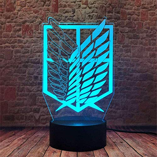 3D Optical Illusion Lamp Attack On Titans 3D Night Light Scout Regiment Logo Black 16 Color Change Decor Lamp with Remote Control for Living Bed Room Bar Best Gift Toys