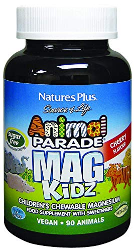 Nature's Plus Animal Parade Sugar-Free MagKidz Children's Magnesium Supplement - Natural Cherry Flavour - 90 Chewable Animal Shaped Tablets - Bone Health Support - Gluten Free - 45 Servings