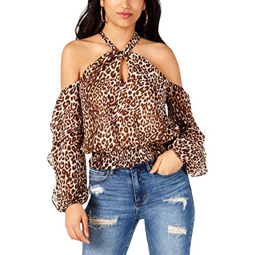 Guess Damen Long Sleeve Hannaa Twist Neck Top Smokinghemd, Gefleckter Bengal, Klein