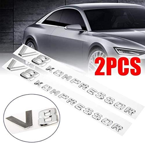ZFXNB 2Pc Abs 3D Aufkleber Autoseite Kotflügel Buchstabe V8 Kompressor Emblem Abzeichen Dekoration Für Mercedes
