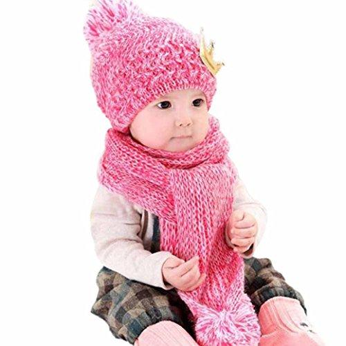 Dragon868 Gorras para bebé, Hermoso bebé de Invierno de Lana Caliente Capucha Bufanda y Sombrero Conjunto