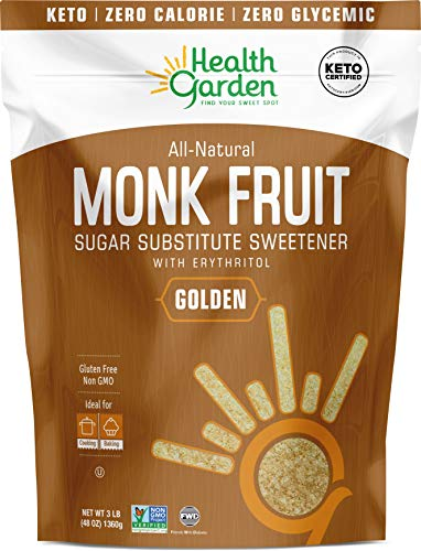 Health Garden Monk Fruit Sweetener, Golden- Non GMO - Gluten Free - Sugar Substitute - Kosher - Keto Friendly (3 lbs)