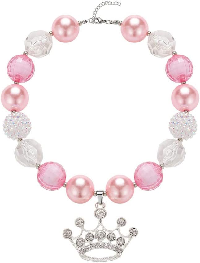 Amosfun Kids Chunky Necklace Crown Pendant Adorable Bubblegum Gumball Beads Necklace for Girls Children Christmas Festive Birthday Gift