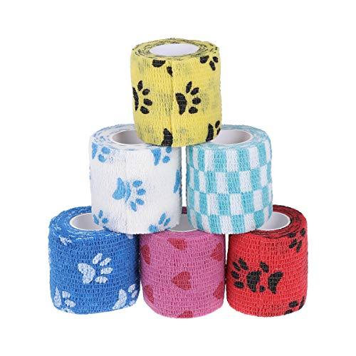 STOBOK 12 Rollos Cinta Adhesiva cohesiva Adhesiva autoadhesiva Envoltura de Primeros Auxilios Envoltura de Vendaje elástico para Mascotas, Perros, Gatos (Color y patrón aleatorios)