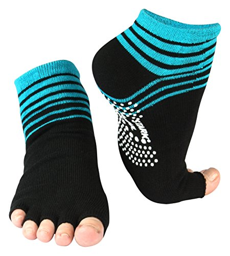 Vincent Creation Yoga & Pilates Zehensocken mit Antirutsch-Sohle & offenen Zehen One Size (36-41), 2 Paar/Turquoise