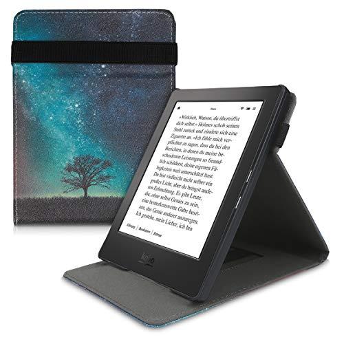 kwmobile Custodia Verticale e-Reader Compatibile con Kobo Aura H2O Edition 1 - con Fascia e leggìo - Flip Case in Pelle PU - Natura e Spazio Blu/Grigio/Nero