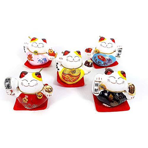 Maneki Neko El Gato De La Suerte Gato De La Suerte Feng Shui,Simboliza La Buena Suerte Y La Felicidad,para Decoración De Oficina Accesorios para El Hogar 4,5 CM,Maneki Neko