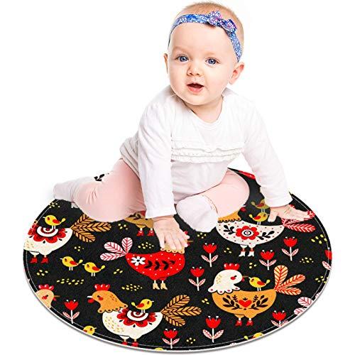 MUOOUM Alfombra redonda con diseño de gallo de pollo, lavable, suave, absorbente, para sala de estar, cocina, alfombra de baño