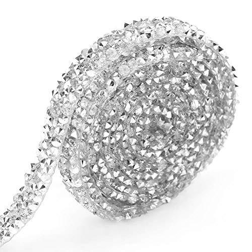 Akozon 10 Yard Silver Rhinestone Diamond Ribbon Mesh Wrap Roll Jewelry Supplies for Decorations Wedding Cake Bridal