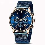 Voigoo Top Luxuxmann Multifunktionsuhr Business Casual wasserdicht Quarz-Datum-Armbanduhr Male Mesh-Bügel-Uhr reloj Hombre