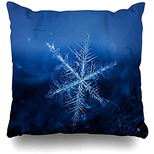 Sofakissen Mikroskop Blau Chemie Schneeflocke Einzel Eiskristallform Paris Abstrakt Weihnachten Nahaufnahme Kaltes Zuhause Kissenbezug Quadratische Größe es Reißverschluss Dekor Kissenbezug 45X45 CM