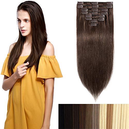 Extensiones de Clips de Pelo Natural Cabello Humano Liso 25cm Clips in Human Hair #04 Marrón Medio- 75g 8 Unidades 18 Clips