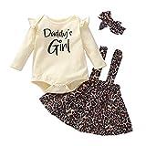 Conjunto de faldas para bebés recién nacidos Conjunto de faldas con estampado de letras y volantes de manga larga Body + Vestido con tirantes de leopardo + Diadema Ropa de otoño Beige 68 3-6 meses