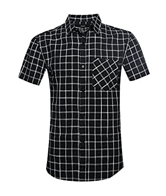 GILBETI Men's Casual Plaid Short Sleeve Button Down Shirts