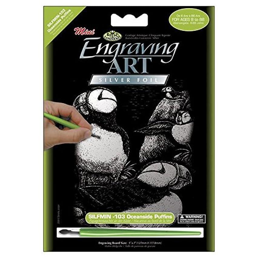ROYAL BRUSH Mini Silver Foil Engraving Art Kit, 5 by 7-Inch, Oceanside Puffins