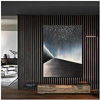 LLXHGスターライトミニマリストライトラグジュアリーブラックとホワイトグレーのリビングルームのキャンバス抽象装飾画-60X80Cmフレームなし
