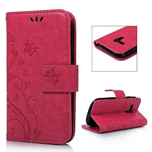 S3 mini I8190 Hülle, PU Leder Filp Tasche Case : Book Type Druck Handyhülle PU Leder mit Soft TPU Innere Schutzhülle für Samsung Galaxy S3 mini I8190,Rose rot
