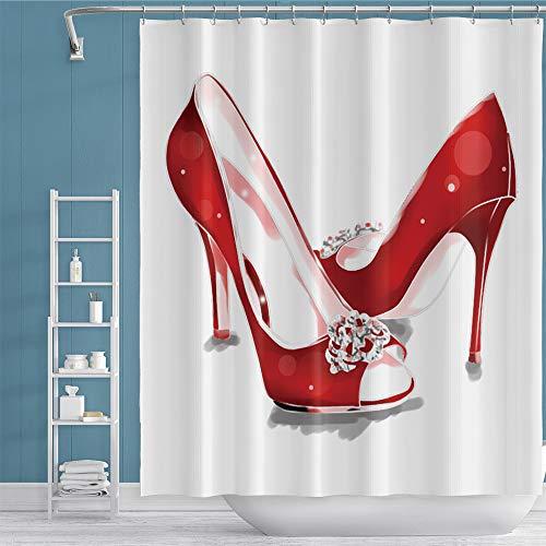 OFila 183 x 183 cm Mädchen Schuhe Duschvorhang Mode Lady Rot High Heels Sexy Frau Shoon Muster Wasserdicht Polyester Stoff für Zuhause Wohnheim Badezimmer Badewanne Dekor