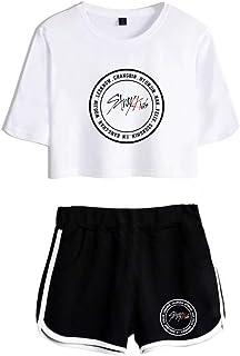 FEIRAN Stray Kids Boy Band Short Shorts de Manga Corta para Mujer y niña Top + Shhort Set E White + Black M