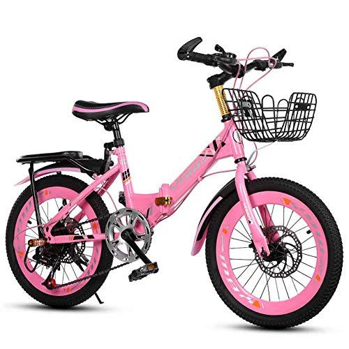 L-SLWI velocità Variabile Bambini del Pieghevole Bici Pieghevole 18 Pollici Bicicletta 20 Pollici 22 Pollici (Colore: Blu, Rosa),Rosa,22'