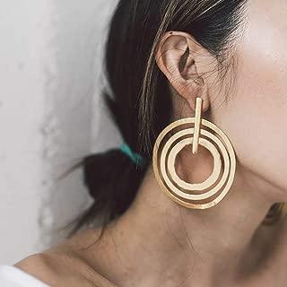 Doubnine Large Circle Hoops Boho Multi Loop Gold Silver Geometric Earrings Women Girls Jewelry Gift (gold)