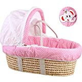 YXGH@ Baby Moses Basket Baby Cradle Basket Nursery Cradle Bedding Basket Portable Car Newborn Baby Basket Straw Basket Crib for 0-6-9 Months Baby