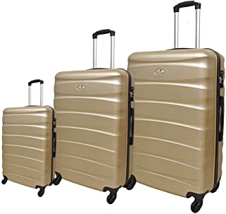 New Travel Solid Luggage Trolley Bag, 4 Wheels, 3 Pieces - Gold