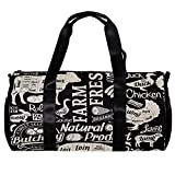 TIZORAX Bolsa de lona para mujeres hombres animales de granja naturales y alimentos deportes gimnasio bolsa de mano fin de semana noche bolsa de viaje al aire libre equipaje bolso