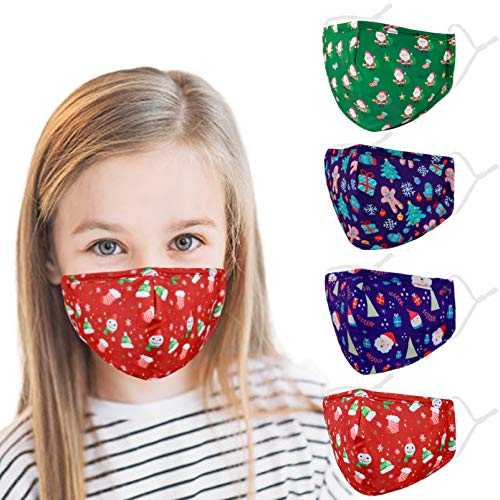 Washable Reusable Kids Face Mask , Christmas Cute Funny Designer Breathable Cloth Cotton Madks Facemask for Girl Boy Children Toddler Gift mascarillas , Fabric Covering Adjustable Ear Loops Protection