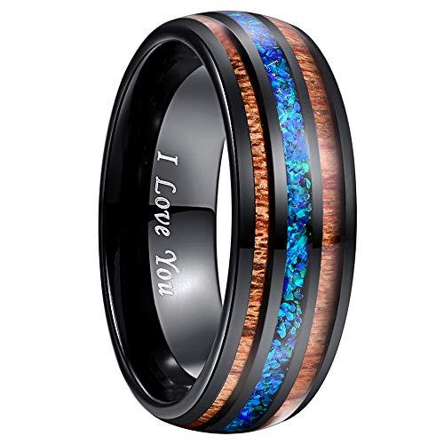 NUNCAD Ringe für Herren/Damen Wolfram Ring Breit 8 mm mit Blau Opal und Koaholz zum Mosaik schwarz als Verlobungsringe Partnerringe und Fashion Ring