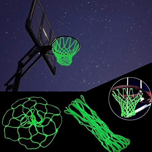 Laduup Basketballnetz ,Nylon-Basketballkorbnetz-Ersatzglühen im Dunkeln,Basketball Net Portable Powered Sport Nylon-Basketballkorbnetz, Nylon Basketballkorb net, Outdoor-Netz/Ersatz-Netz