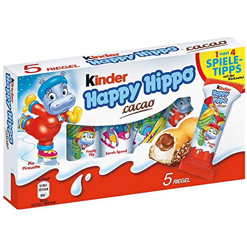 Kinder Happy Hippo Cocoa Cream Biscuits : Pack of 5 Biscuits by Kinder