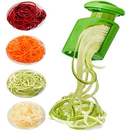 LHS - Rebanador de verduras en espiral para calabacín y espaguetis 2 en 1 para hacer zoodle Maker Veggie Spiralizer Zucchini Noodle Maker, Rallador en espiral para ensalada, utensilios de ensalada