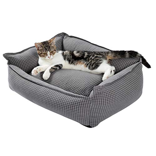 PAWZ Road Pet Bed Cat Bed Dog Bed Cat Sofa Dog Sofa Lattice Square Nest for Small Cats and Dogs Polypropylene Cotton Washable Grey
