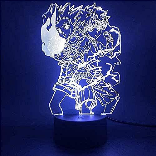 Luz de noche Lámpara 3D Anime Hunter x Hunter Gon y Killua Zoldyck Figura Luz Nocturna para decoración de Dormitorio Infantil Ventiladores de luz Regalo Niños LED Colores