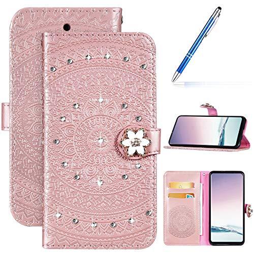 Robinsoni Custodia Compatibile con Nokia 2.1 2018 Cover Libretto Nokia 2.1 2018 Cover Portafoglio Pelle PU Antiurto Cover Scintillare Diamante Custodia Taccuino Cover 360 Gradi Cover Mandala Oro Rosa