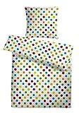 Carpe Sonno Leichte Seersucker Bettwäsche Weiß bunt gepunktet 135 x 200 cm – Bettdecken- und...