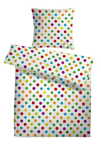 Carpe Sonno Leichte Seersucker Bettwäsche Weiß bunt gepunktet 135 x 200 cm – Bettdecken- und Kopfkissen-Bezug aus Baumwolle mit Reißverschluss – kühle Gepunktete Sommerbettwäsche in Premium-Qualität