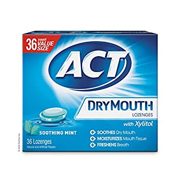 ACT Dry Mouth Lozenges With Xylitol Soothing Mint 36 Count  Packaging may vary