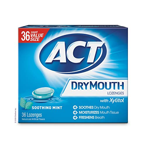 ACT Dry Mouth Lozenges With Xylitol, Soothing Mint, 36 Count (Packaging may vary)