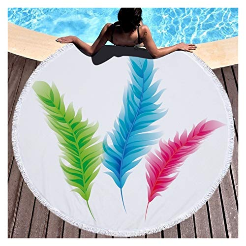 Toalla de Playa Fashion Feather Beach Beach Toalla de Playa con tasel Microfibra 150cm Natación Toalla Towel Tapastre Yoga Manta Alfombra Sombreado (Color : Feather 2)