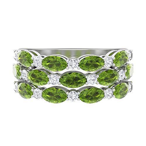 Anillo de tres filas, banda de dispersión, piedras preciosas de 4,06 quilates, anillo de peridoto ovalado de moissanita D-VSSI 5x3, anillo de boda de banda ancha de oro, 14K Oro blanco, Size:EU 46