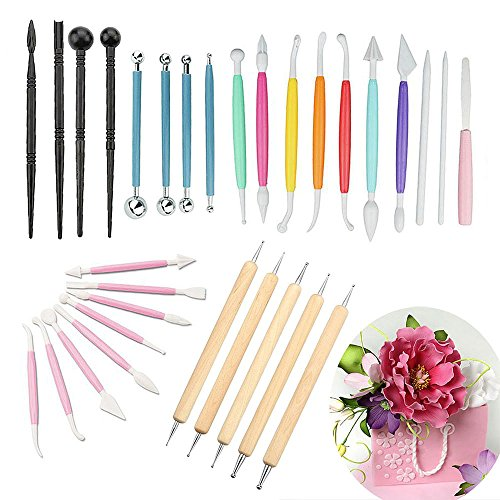 30 Pcs Fondant Cake Decorating Sculpting Modeling Tools, Stylus Pottery Sculpting Modeling Tools Fondant Tools(10pcs are Random Color)