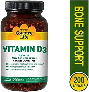 Country Life - Vitamin D3, Non-fish 2500 IU - 200 Softgels