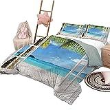 Bettwäsche Türkis Tagesdecke Bettdecke für alle Jahreszeiten Ocean Island Palm Tree