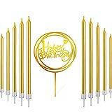 Queta 30pcs Metallic Metallic Birthday Cake Candles Gold Glitter Kerzen,Alles- Gute zum Geburtstagkuchenkerzen with Gold Acrylic Happy Birthday Cake Topper Party Cake Decorations