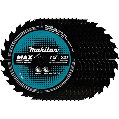 Makita B-61656-10 24T Hoja de sierra circular con punta de carburo de máxima eficiencia, enmarcado, 7-1/4'