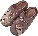 Mishansha Mujer Zapatillas de Casa Algodón Hombre Zapatillas de Estar de Invierno Cálido Felpa Dibujos Animados Gato Antideslizante Pantuflas, Cat-Marrón, 41/42 EU=42/43 CN