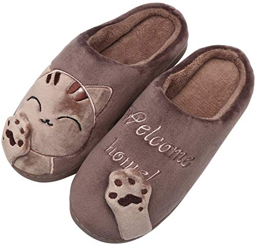 Mishansha Damen Winter Hausschuhe Warm Plüsch Herren Pantoffeln Kuschelige Cartoon Home Slippers rutschfeste Schlappen, Cat-Braun, 39/40 EU=40/41 CN